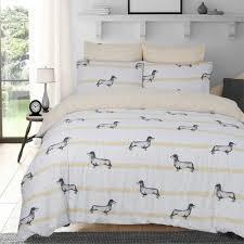 sausage dog animal print duvet set pillowcase ochre bedding