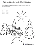 Free Christmas Multiplication Coloring Worksheets Multiplicationcom