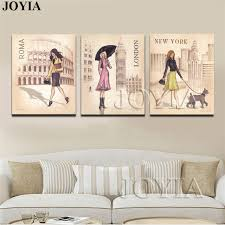 triptych canvas art print painting roma london travel girl for girls bedroom hand drawing posters wall on poster board wall art with triptych canvas art print painting roma london travel girl for girls