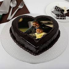 Heart Shaped Chocolate Truffle Photo Cake For Dad Online Cake
