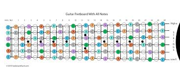 Guitar Notes Chart Guitar Fretboard With Frets Numbered And Notes Named