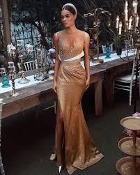 <b>Sexy Gold Crystal Beaded</b> Mermaid Prom Dresses Luxury Sparkly ...