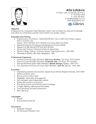 Objective Job Application Resume For Flight Attendant Example Position Writing Job