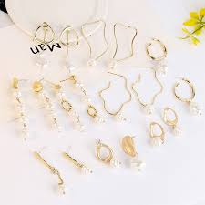 <b>Vintage Irregular Pearl</b> Earrings Women <b>Geometric</b> Jewelry Metal ...