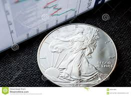 Investing Silver Chart Investing In Silver Coins Stock Photo Image Of Business