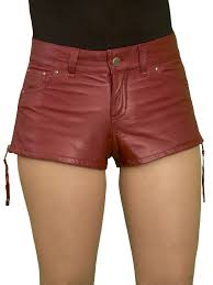 womens luxury leather hot pants shorts jeans style wine