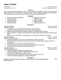 Sample Warehouse Manager Resume Free Resume Example And Writing