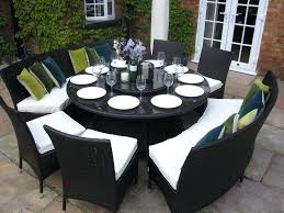 dining tables large round dining table seats 10 benches and chairs rattan garden furniture set