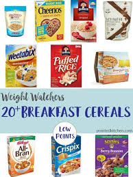 a collage of low point cereals