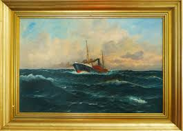 boat antique window frame painting art gold mural picture frame image swell fishing vessel oil painting