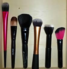 face brushes from left sephora foundation brush elianto foundation brush elf plexion brush real techniques expert face brush