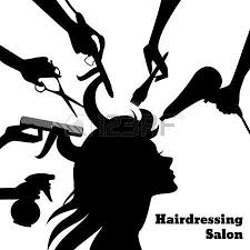 dresser clipart black and white. hair salon: beauty salon concept with female profile silhouette and hairdresser hands accessories vector dresser clipart black white