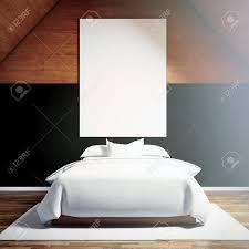 Foto Von Moder Schlafzimmer In Chale Haus Leere Weiße Leinwand Auf