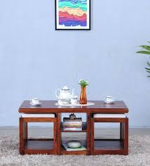 wood coffee table set. Abbey Solid Wood Coffee Table Set With Two Stools In Honey Oak Finish By Woodsworth