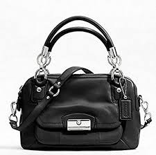Coach Kristin Black Leather Double Zipper Satchel Handbag F22304