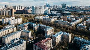 russia moscow aerial view of sokol district