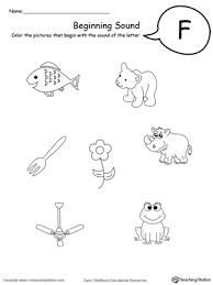 Go over beginning sounds with your kindergartener with this handy review sheet that asks him to match letters and sounds. Beginning Sound Of The Letter F Myteachingstation Com