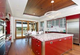 red recycled glass countertop