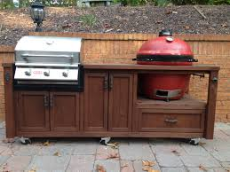 Mobile Outdoor Grill Island For Your Kamado And Gas Grill Big