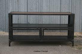 Reclaimed Media Cabinet Vintage Industrial Tv Stand Reclaimed Wood Steel Mid