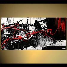 abstract artwork on black and white with a splash of red wall art with painting red black and white splash art large 5362
