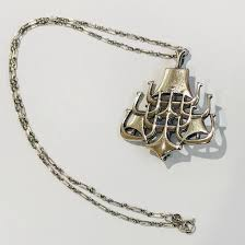 david andersen sterling silver viking ship pendant jewellery