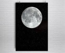 zoom on giant wall poster art print with large moon print moon poster moon art print full moon art