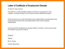 5 Employment Certification Letter Intern Resume