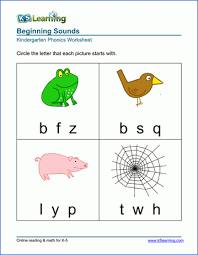 So far you can see we have a variety of sets of worksheets that deal with beginning sounds and rhyming and we are working on more. Free Preschool Kindergarten Phonics Worksheets Printable K5 Learning