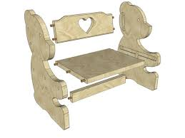 chair for kids. i used a handheld jig saw (band also ok) to cut out the bear pieces, and seat back support with hearts, as well curved parts of table chair for kids