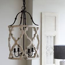 lodge distressed white carved wood pendant lantern farmhouse chandelier lighting