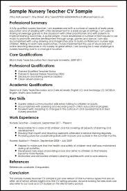 Cv For Teaching Sample Nursery Teacher Cv Sample Myperfectcv