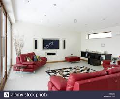 Of Living Rooms With Leather Furniture Modern Living Room With Red Leather Sofas And Built In Plasma Tv