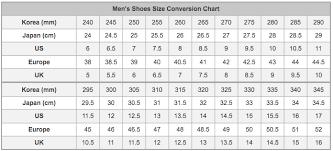 Korean Shoe Size Chart Www Bedowntowndaytona Com