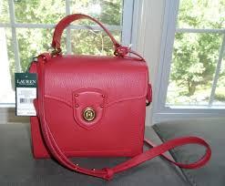 ralph lauren millbrook red leather satchel bag convertible shoulder purse nwt
