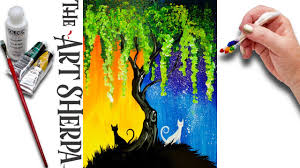 Day and Night Cats Willow Tree Q Tip Acrylic Painting for Beginners tut.