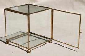 vintage glass brass box showcase cube shaped display case curio cabinet