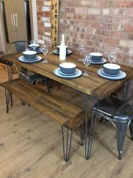 handmade rustic retro industrial table and tolix chairs and benches with metal hairpin legs