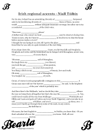 Niall Toibin - Irish accents worksheet with answer key