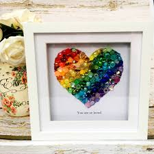 Wall art home decor is an essential element of any beautiful looking home. Sml Std Heart Rainbow Jewelled Art Box Frame Home Decor Gift Nursery Wall Hanging