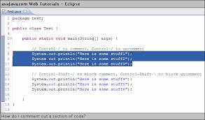 How do I comment out a section of code? - Web Tutorials - avajava.com