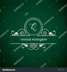 Monogram of the letter Q, in retro floral style on green chalkboard  background. EPS10