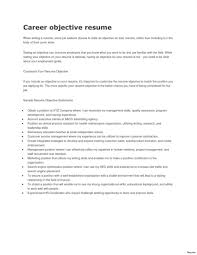 Career Objective Resume Career Objectives Resume Examples Or Part Time Job Objective Samples