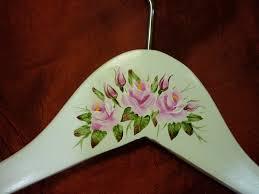 folk art painting roses hanger name pink roses