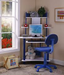 com kings brand blue finish corner workstation kids children s computer desk chair kitchen dining