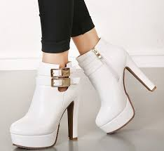bridal white leather wedding boots ankle boots heels round toe y las buckles shoes 12cm size 34 to 39 yr boots for men girls boots from tradingbear