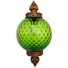mid century italian blown glass globe pendant hanging light for
