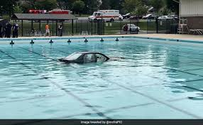 Pool Word Driving Lesson In Maryland Ends With Car In Swimming Pool