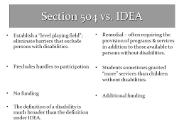 504 Vs Idea Chart Chapter 15 Section 504 Ada Co Presented By Ppt Video