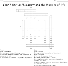Designer Crossword Year 7 Unit 3 Philosophy And The Meaning Of Life Crossword